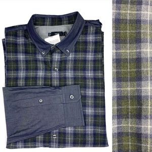 NWT Vince Plaid Shirt With Chambray Contrast XL